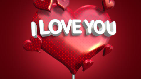 Animated closeup I Love you text and motion romantic heart on Valentine's day shiny background 애니메이션