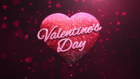 Animated closeup Valentine's Day text and motion romantic heart on love shiny background Animation