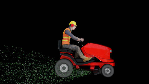 Worker on a ride on mower Animation