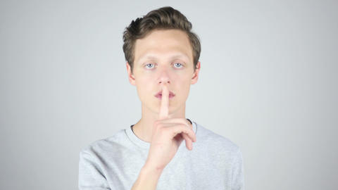 Keep Silence,Keeping Secert, Isolated Gesture by Young Man Footage