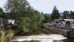 Establishing Shot of Dam at Fish Hatchery in Issaquah Washington Footage