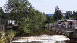 Establishing Shot of Dam at Fish Hatchery in Issaquah Washington Footage