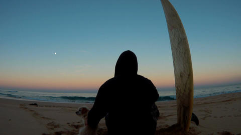 Mans best friend and surfer sitting on beach looking at oacen twilight sunset Footage