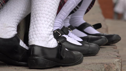 Female Students Socks And Shoes Footage