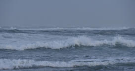 Rough ocean sea with big waves swells during stormy weather Footage