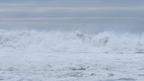 Crashing waves storm sea swells with white wash waves El Niño Footage
