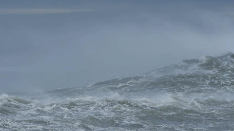 Climate change effect on the weather crating massive sea waves Footage