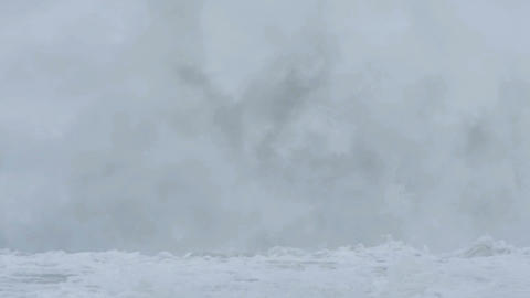 Big ocean waves from bad weather climate change effects Footage