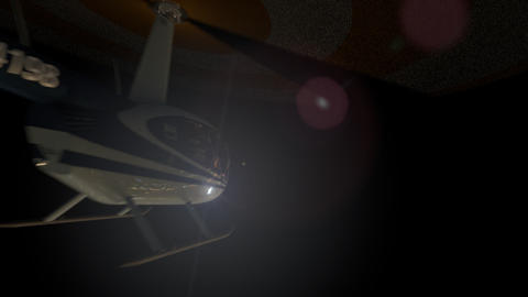 Helicopters fly past the camera in the night sky Animation