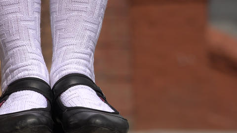 Female Wearing Black Shoes And White Socks Footage