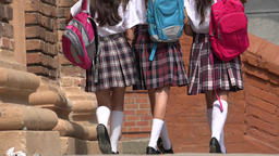 Female Students With Backpacks Footage