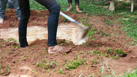 4K People are digging with a shovel To build wells Live Action