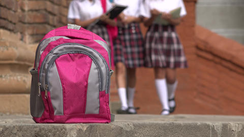 Pink School Backpack And Girls Wearing Skirts, Live Action