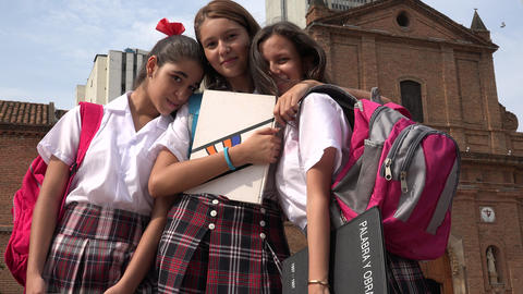 Teen Female Students And Friends Footage