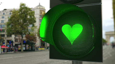 Heart symbol on green traffic light signal. Relationship related conceptual 3D Live Action