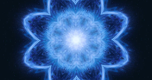 Kaleidoscopic visual effect for a DJ background. Music background. Abstract flower that changes its Animation