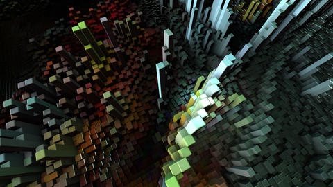 Abstract Cubes Move, Loopable Animation. Seamless Loopable Live Action