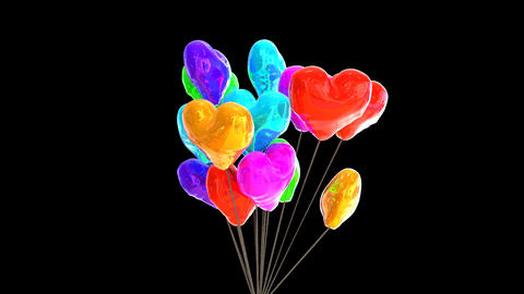 Bunch of heart shaped balloons Animation