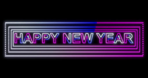 Happy New Year 2020 neon sign background with fluorescent ultraviolet lights Animation