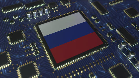 National flag of Russia on the operating chipset. Russian information technology Live Action