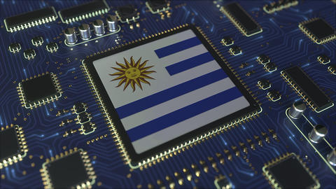 National flag of Uruguay on the operating chipset. Uruguayan information Live Action