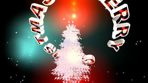 212 3d animated christmas card with words Merry Christmas Animation