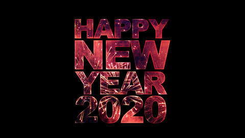 Happy New Year 2020 text with fireworks for celebration with alpha Animation