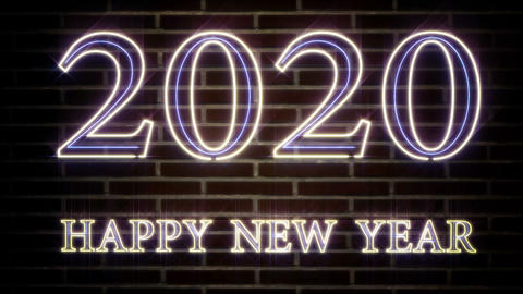Realistic blinking neon sign 2020 Happy New Year sign on a brick wall Live Action