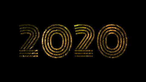 2020 text with firework for celebration with alpha / transperant Animation