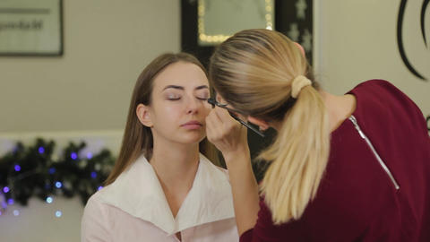 Professional eye makeup. Stylist makeup artist applies makeup to a young woman Live Action