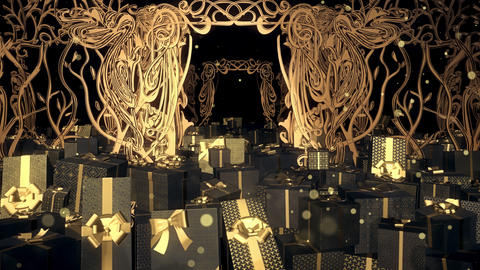 Christmas Art Nouveau Gift Box 03 Animation