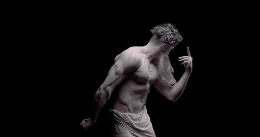 Living statue of a greek God with long beard and muscular body, flexing, 4k Live Action