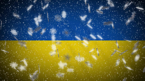 Ukraine flag falling snow loopable, New Year and Christmas background, loop Animation