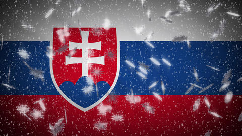 Slovakia flag falling snow loopable, New Year and Christmas background, loop Animation