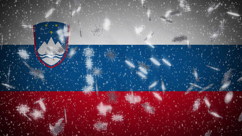 Slovenia flag falling snow loopable, New Year and Christmas background, loop Animation