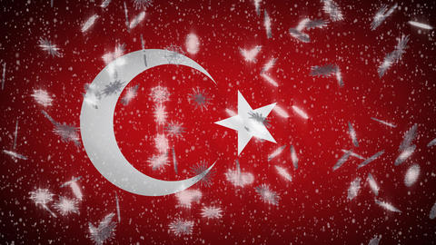 Turkey flag falling snow loopable, New Year and Christmas background, loop Animation