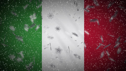 Italy flag falling snow loopable, New Year and Christmas background, loop Animation