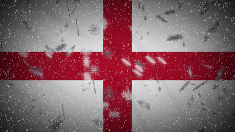 England flag falling snow loopable, New Year and Christmas background, loop Animation
