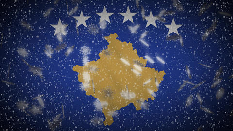 Kosovo flag falling snow loopable, New Year and Christmas background, loop Animation