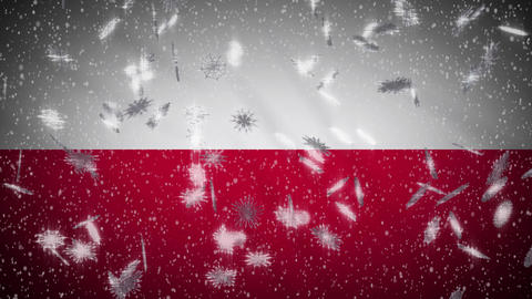 Poland flag falling snow loopable, New Year and Christmas background, loop Animation