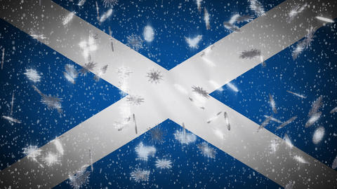 Scotland flag falling snow loopable, New Year and Christmas background, loop Animation