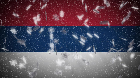 Serbia flag falling snow loopable, New Year and Christmas background, loop Animation