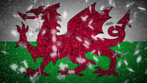 Wales flag falling snow loopable, New Year and Christmas background, loop Animation
