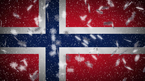 Norway flag falling snow loopable, New Year and Christmas background, loop Animation