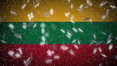 Lithuania flag falling snow loopable, New Year and Christmas background, loop Animation