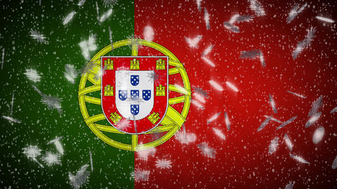 Portugal flag falling snow loopable, New Year and Christmas background, loop Animation