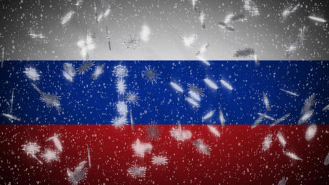 Russia flag falling snow loopable, New Year and Christmas background, loop Animation