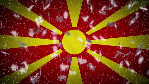 Macedonia flag falling snow loopable, New Year and Christmas background, loop Animation