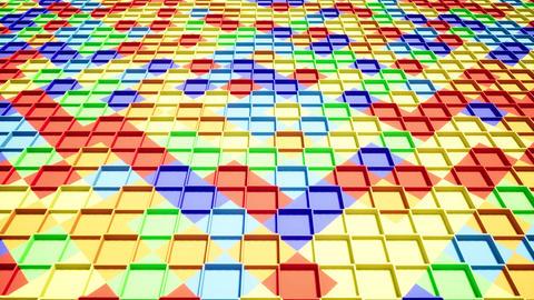 Movement over realistic color boxes. 3d pattern. Background 3d. Geometric shapes Live Action