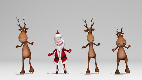 Funny crazy Santa Claus and deers are dancing. The concept of Christmas and New ライブ動画